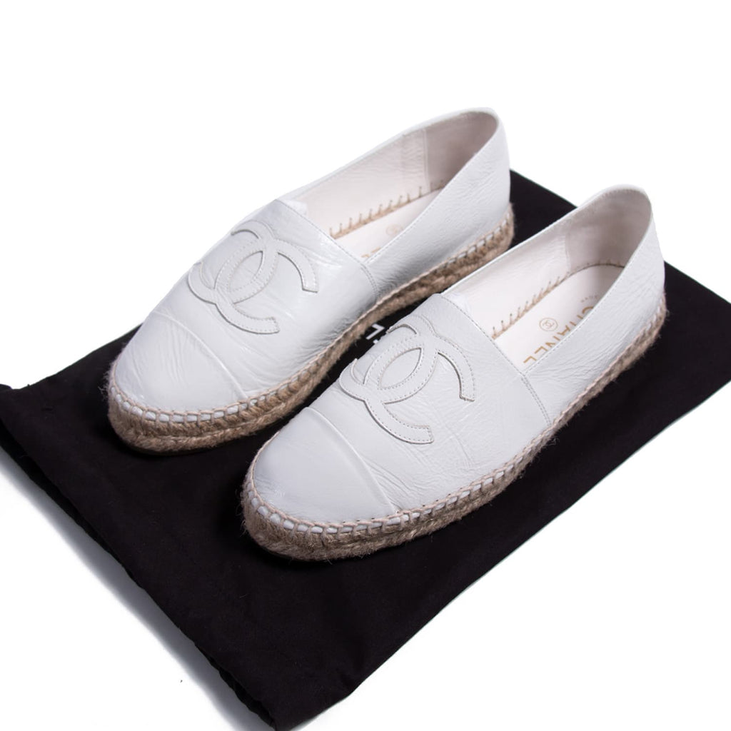 size 40 9e6e0 a2f37 Shop authentic Chanel Glazed Leather CC Espadrilles at revogue for just USD  450.00