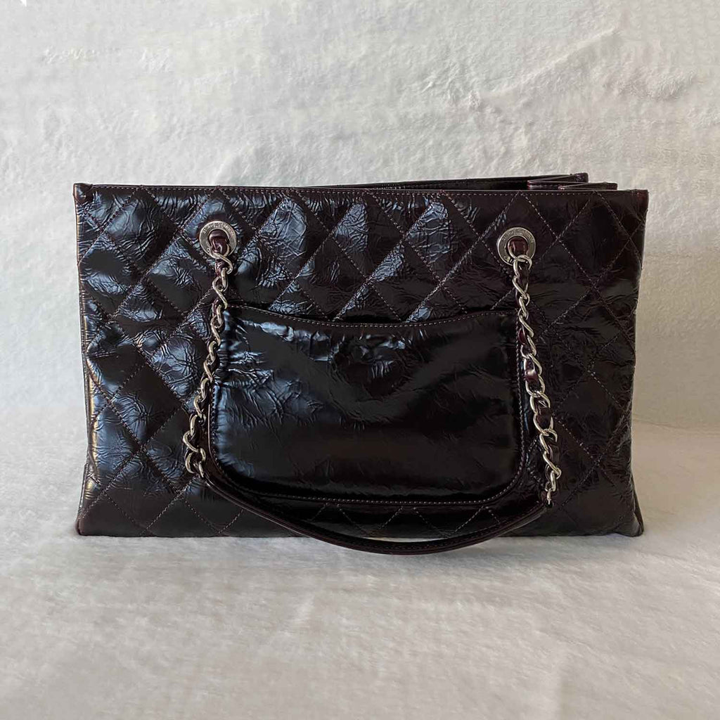 Chanel Patent Leather Grand Shopping Tote Zip