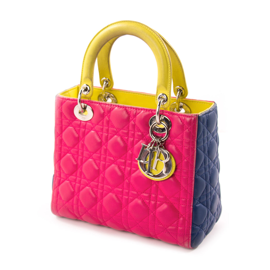 Christian Dior Tricolor Medium Lady Dior Bags Dior - Shop authentic new pre-owned designer brands online at Re-Vogue