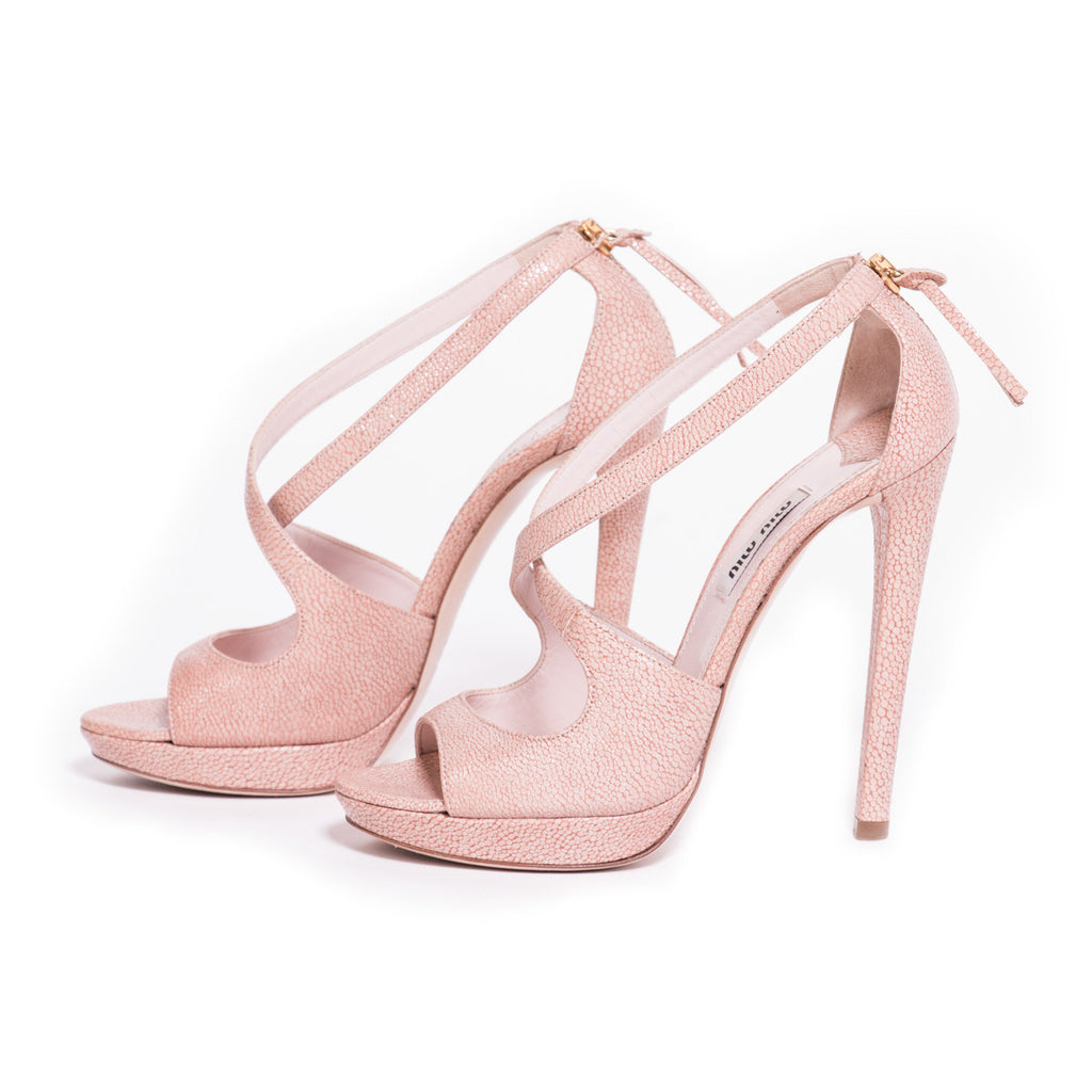 Nude Leather Miu Miu Sandals -Shop pre-owned luxury designer brands on discount online at Re-Vogue