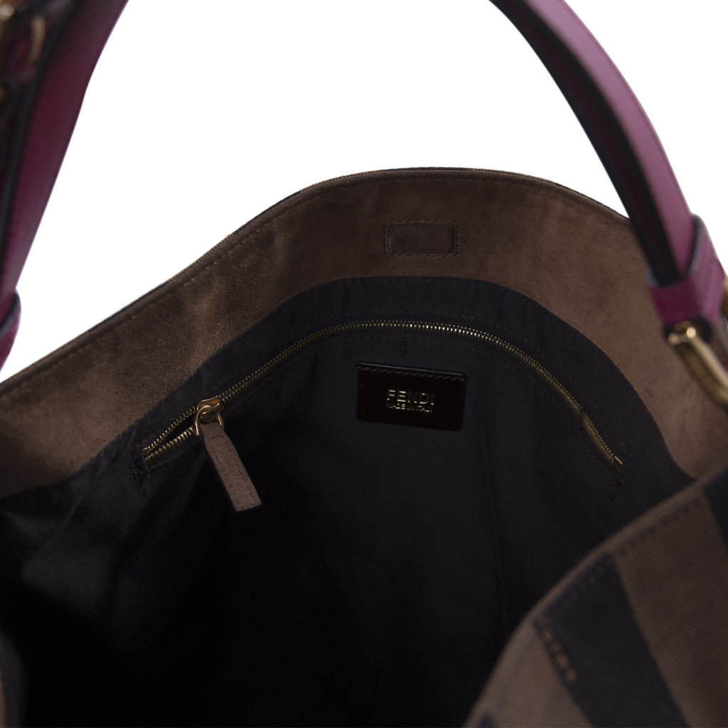 Fendi Leather-Trimmed Pequin Hobo Bag