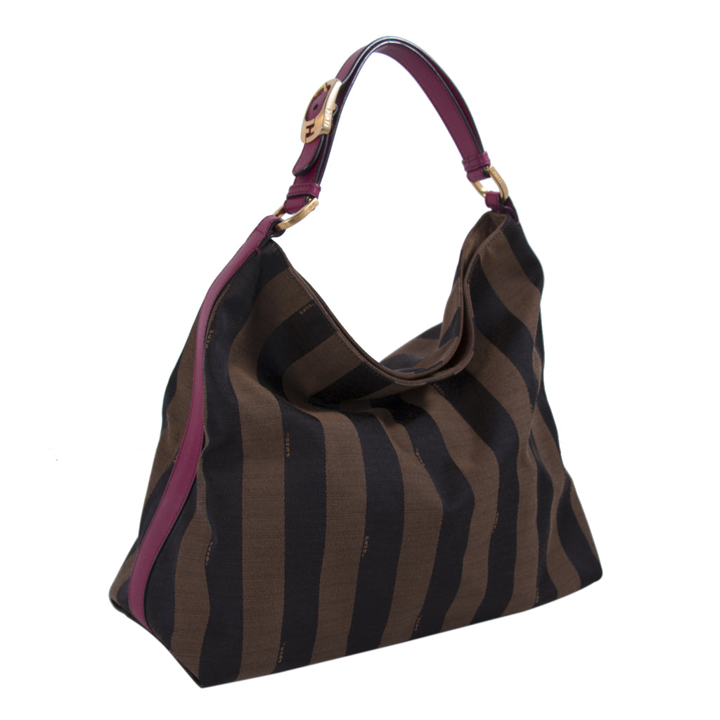 Fendi Leather-Trimmed Pequin Hobo Bag Bags Fendi - Shop authentic new pre-owned designer brands online at Re-Vogue