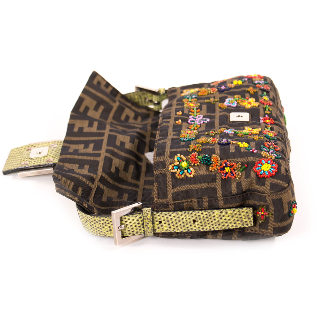 Fendi Floral Beaded Zucca Mini Baguette Bags Fendi - Shop authentic new pre-owned designer brands online at Re-Vogue