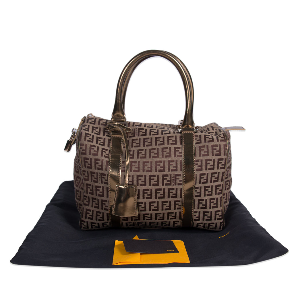 Shop authentic Fendi Zucca Spalmati Boston Bag at revogue for just ... bc32034664