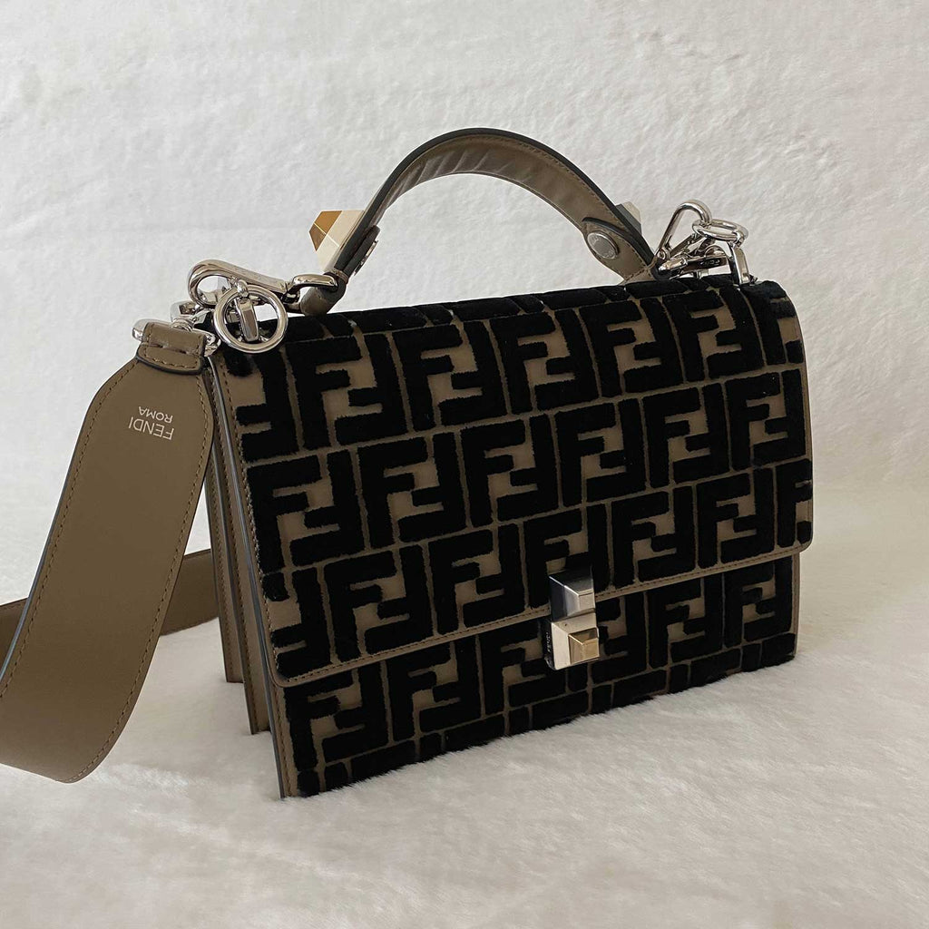 Fendi Kan I Zucca Velvet Medium Shoulder Bag