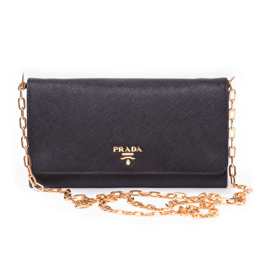 Prada Leather Chain Wallet - revogue