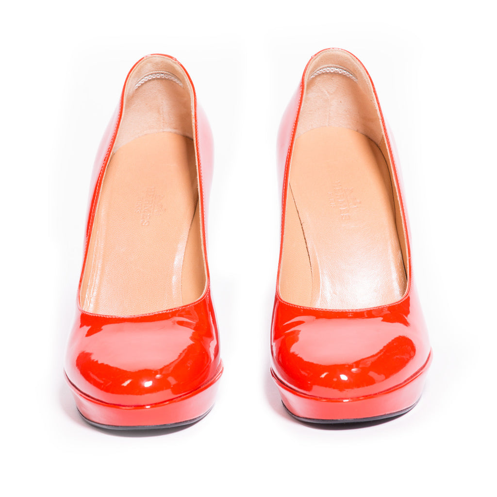 Hermes Red Leather Pumps -Shop pre-owned luxury designer brands on discount online at Re-Vogue