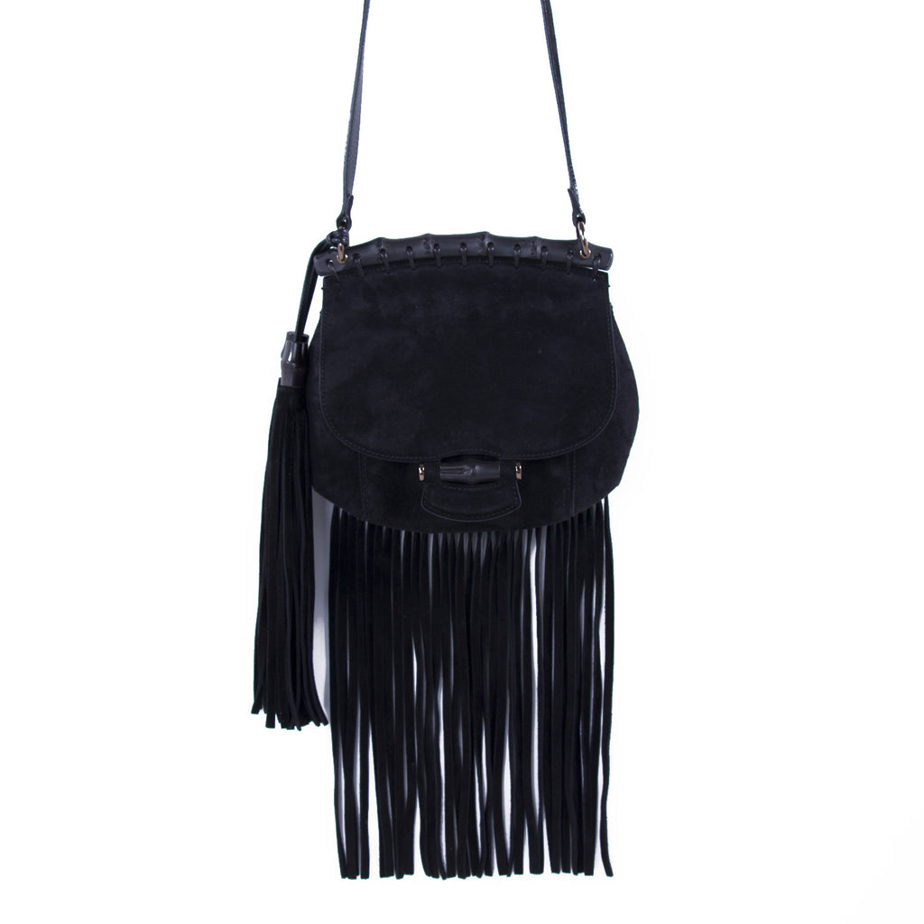 1f60d7e1cf Shop authentic Gucci Nouveau Black Fringe Suede Bag at revogue for just USD  850.00