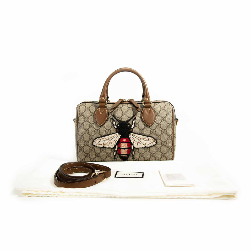 Gucci GG Supreme Embroidered Small Boston Bag Bags Gucci - Shop authentic new pre-owned designer brands online at Re-Vogue