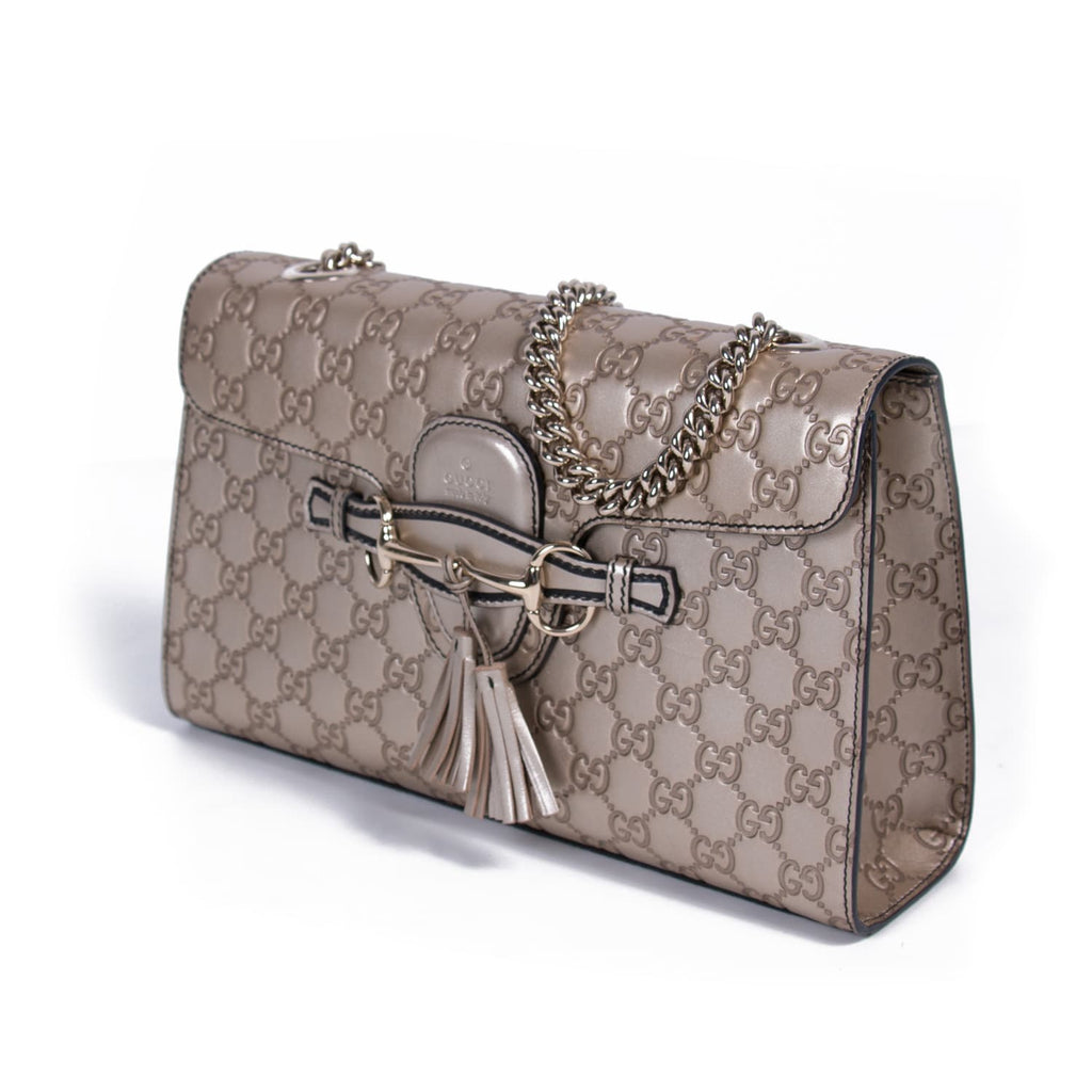 0b4ee715c50 Shop authentic Gucci Emily Medium Metallic Shoulder Bag at revogue ...