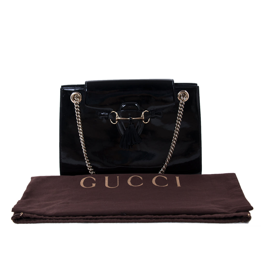 Gucci Emily Large Patent Leather Shoulder Bag Bags Gucci - Shop authentic new pre-owned designer brands online at Re-Vogue