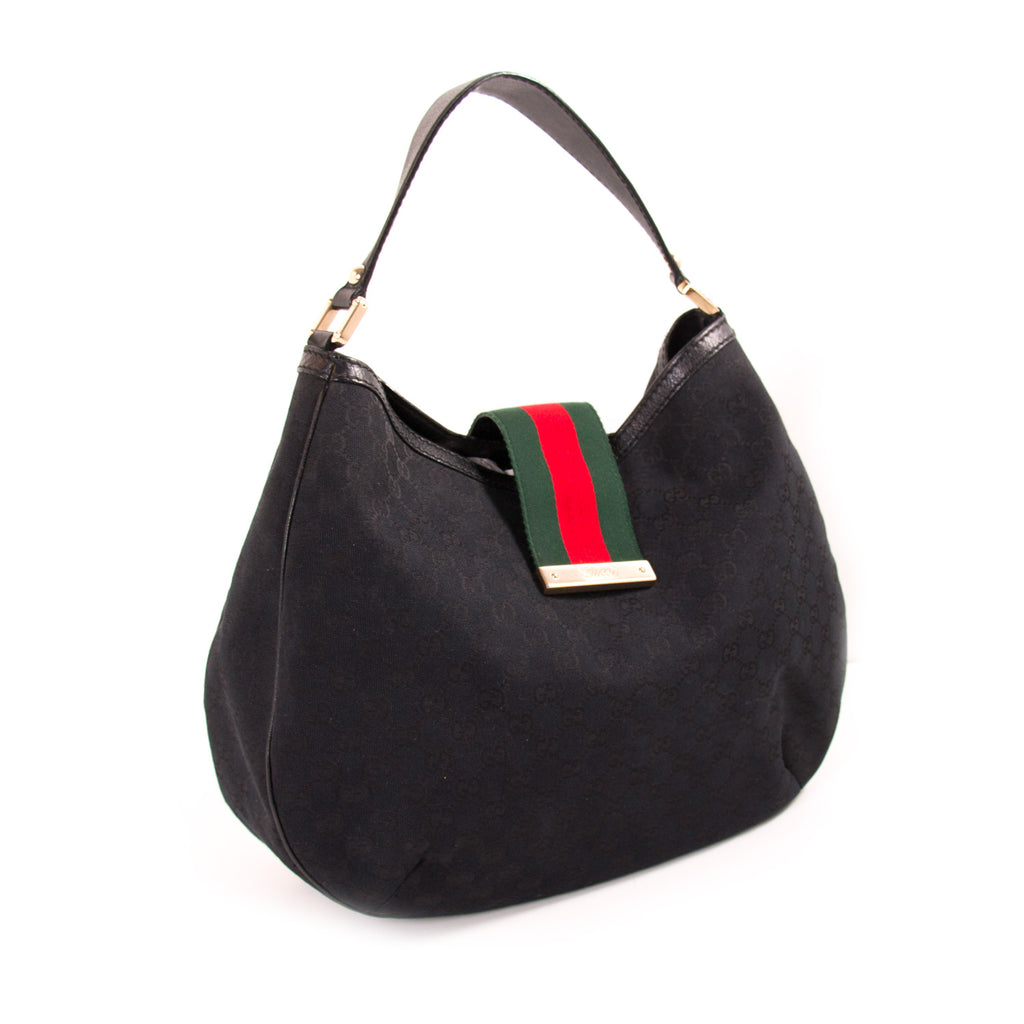 Gucci GG Black Canvas Hobo Bag Bags Gucci - Shop authentic new pre-owned designer brands online at Re-Vogue