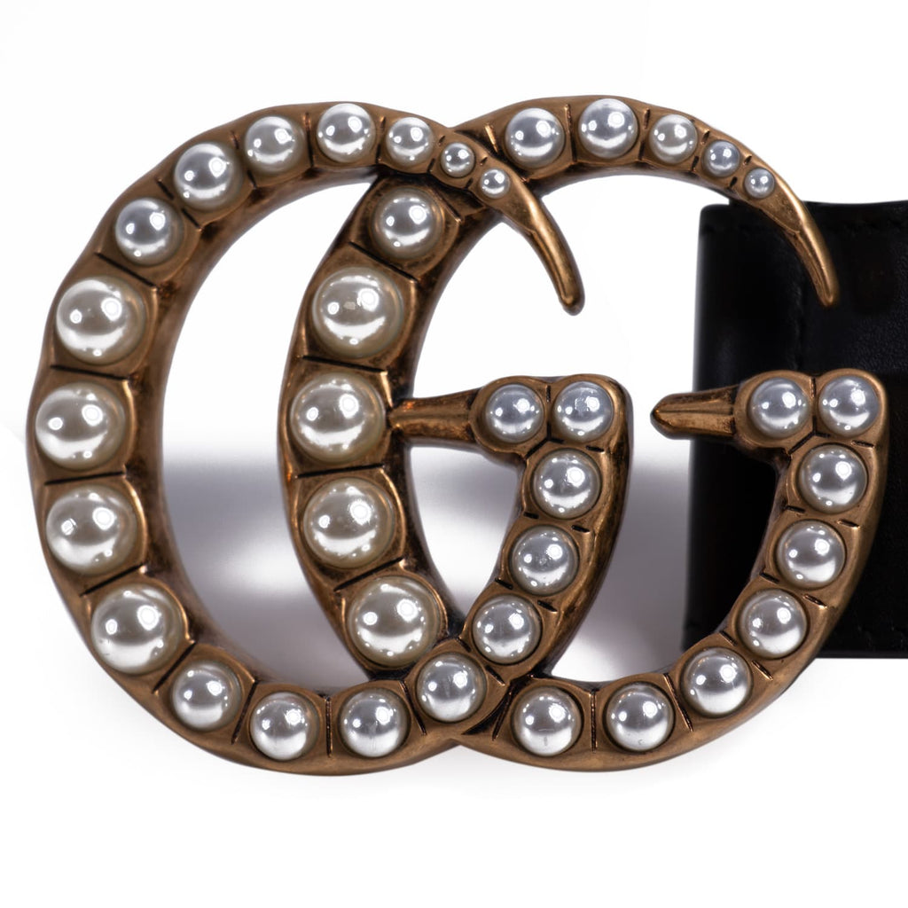 Gucci GG Marmont Pearl Leather Belt Accessories Gucci - Shop authentic new pre-owned designer brands online at Re-Vogue