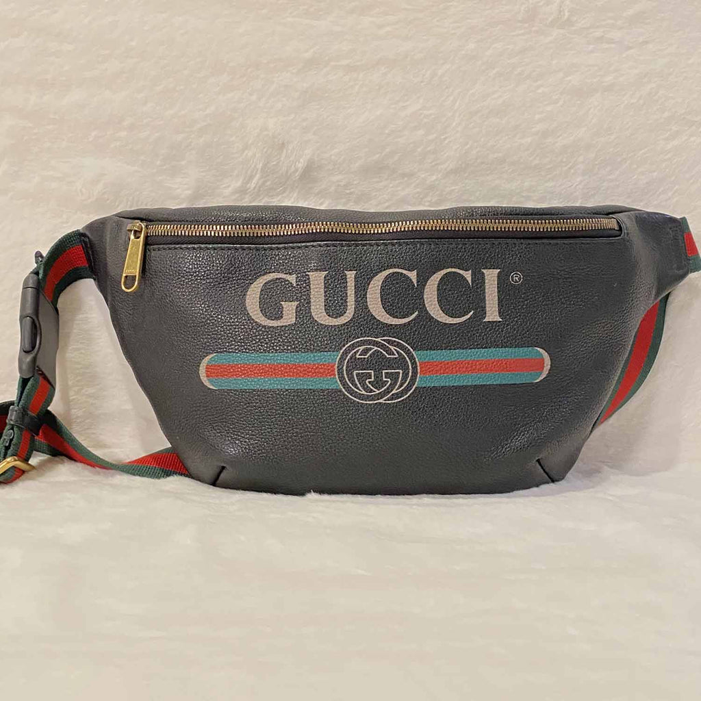 Gucci Logo Print Leather Belt Bag