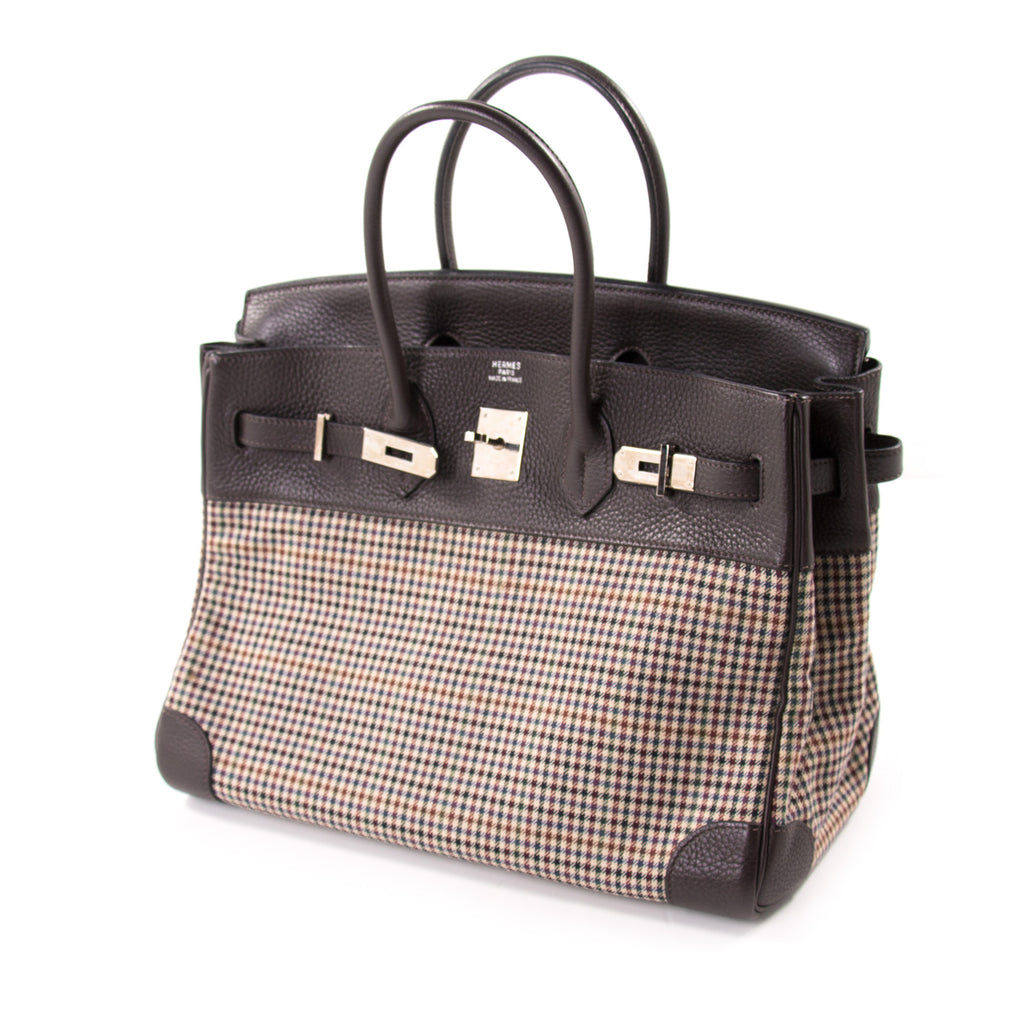 Hermès Birkin 35 Clemence Leather and Houndstooth Canvas Bags Hermès - Shop authentic new pre-owned designer brands online at Re-Vogue