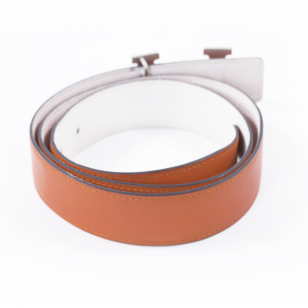 Hermès Orange and White Leather H Belt