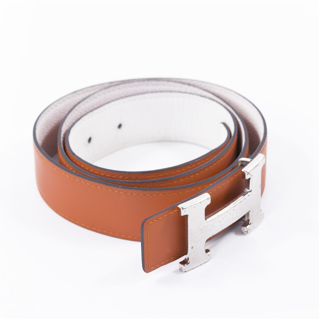 Hermès Orange and White Leather H Belt Accessories Hermès - Shop authentic new pre-owned designer brands online at Re-Vogue