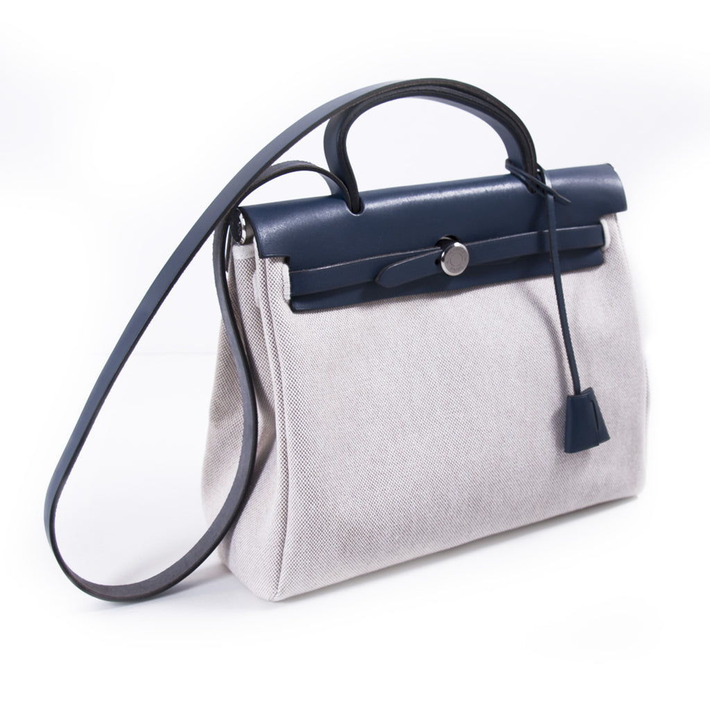 Hermès Herbag PM Toile Beige Navy Blue Bags Hermès - Shop authentic new pre-owned designer brands online at Re-Vogue