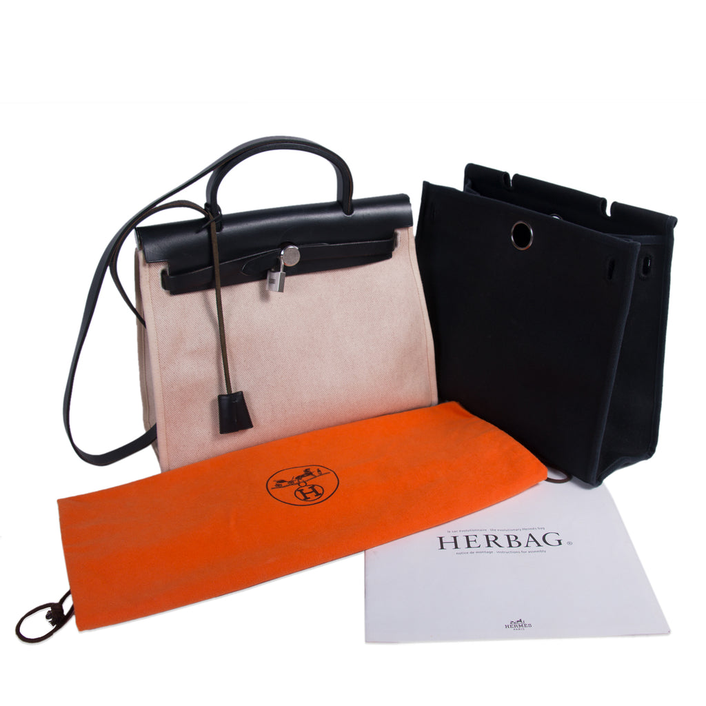 b8f65146f0c2 Shop authentic Hermès Herbag PM Toile Beige Black at revogue for ...