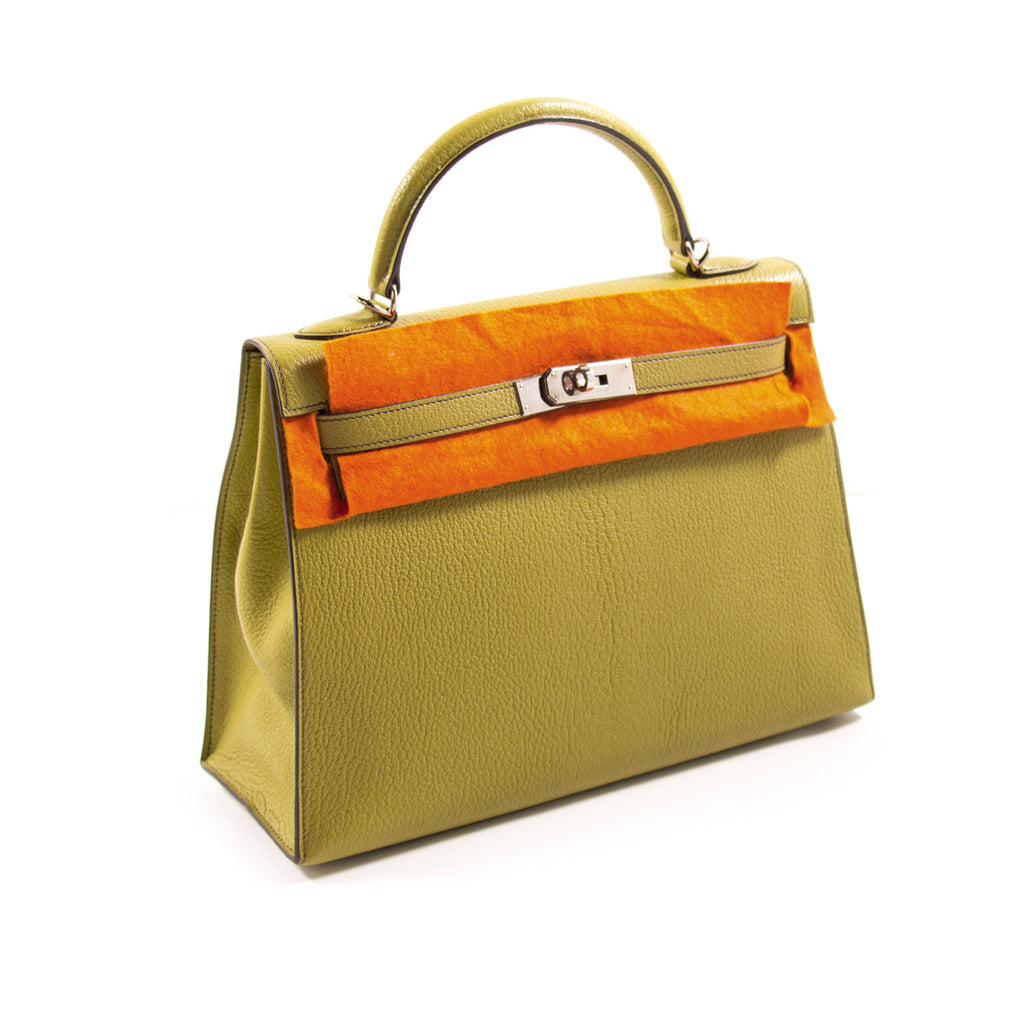 Shop authentic Hermès Kelly 32 Sellier Vert Anis Chevre Mysore at ... e2eee0611e46f