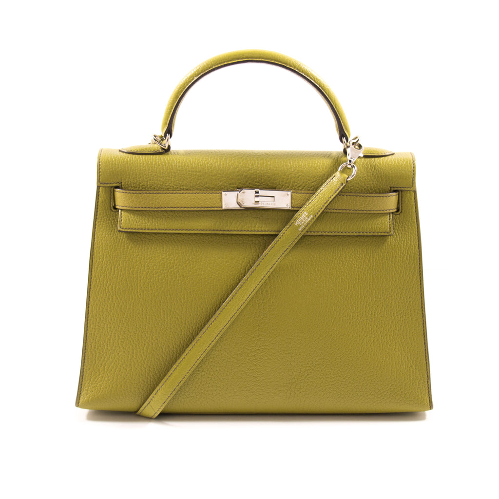 2f29aa065544 Shop authentic Hermès Kelly 32 Sellier Vert Anis Chevre Mysore at ...