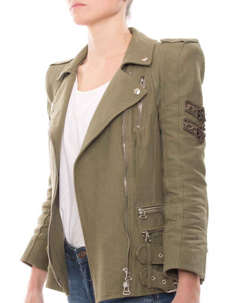Balmain Biker Green Jacket Jacket Balmain - Shop authentic new pre-owned designer brands online at Re-Vogue