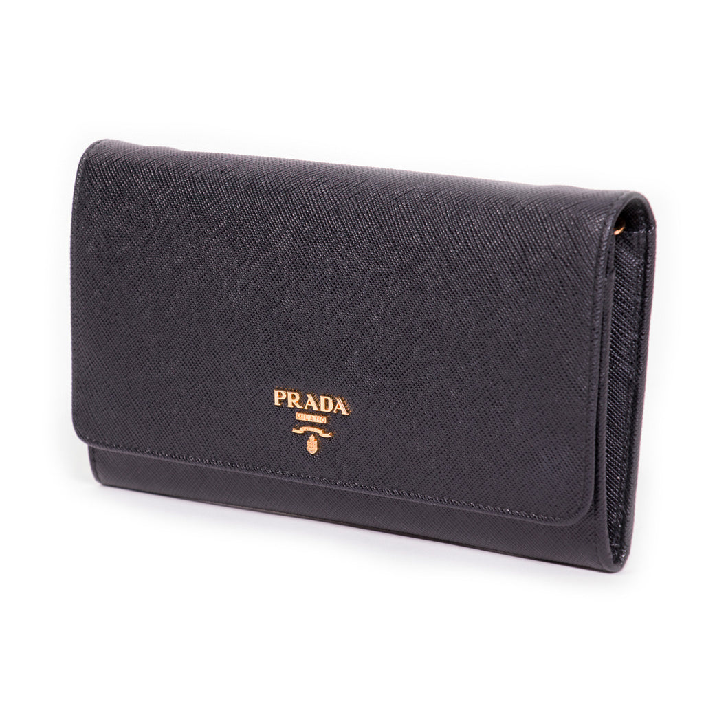 Prada Leather Chain Wallet -Shop pre-owned luxury designer brands on discount online at Re-Vogue