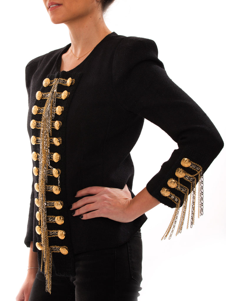 Balmain Black Embroidered Jacket - revogue