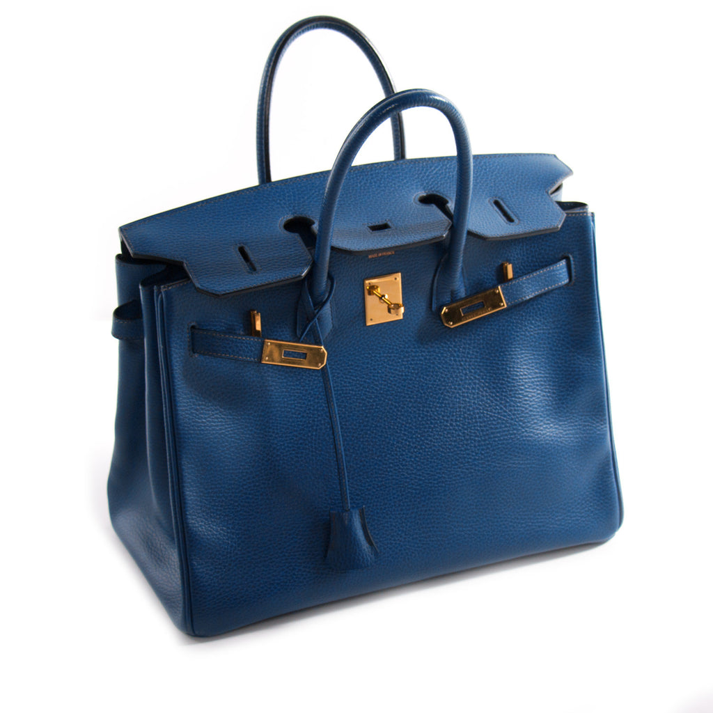 Hermes Birkin 35 Vache Ardennes Bleu Sapphire Bags Hermès - Shop authentic new pre-owned designer brands online at Re-Vogue