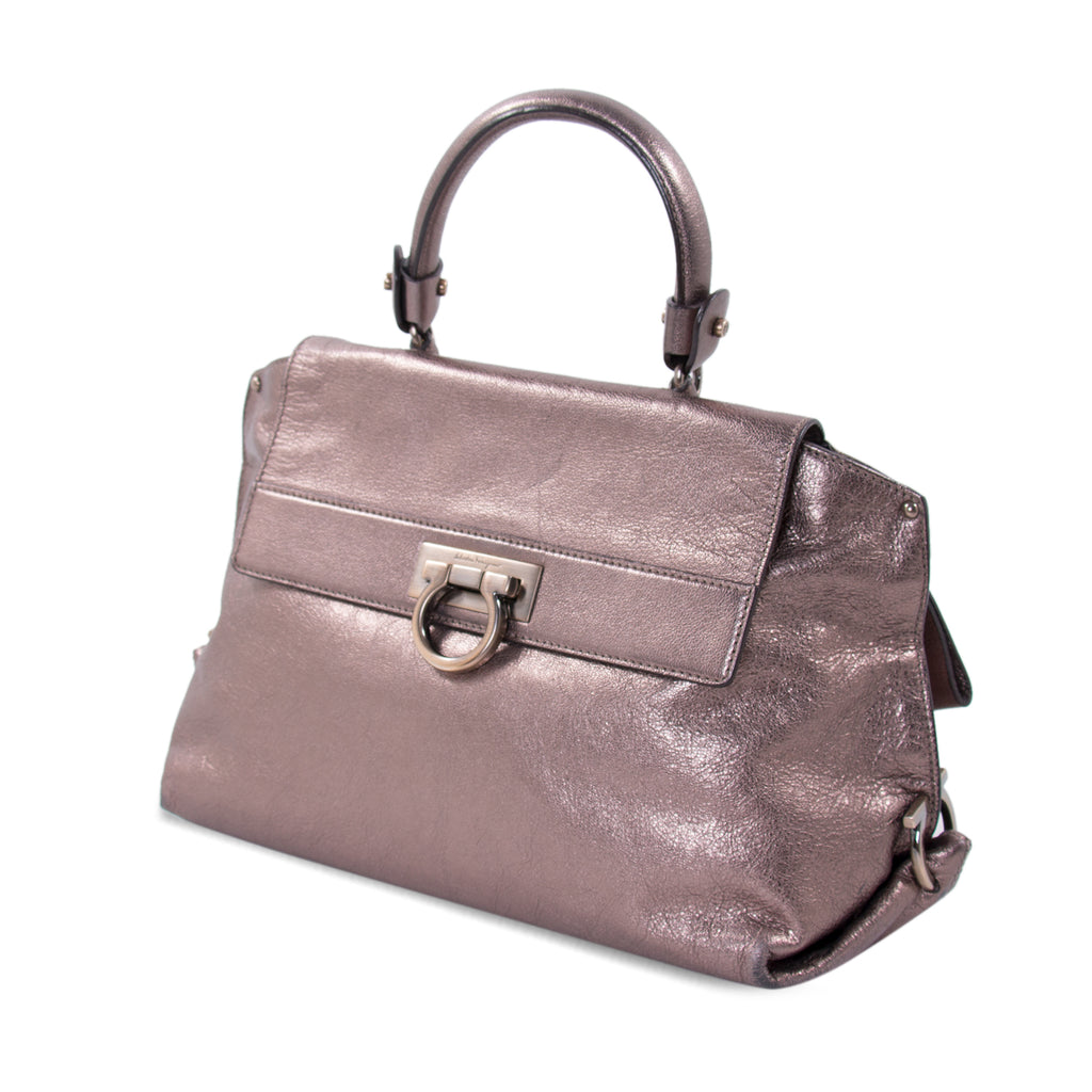 Salvatore Ferragamo Metallic Sofia Satchel Bags Salvatore Ferragamo - Shop authentic new pre-owned designer brands online at Re-Vogue