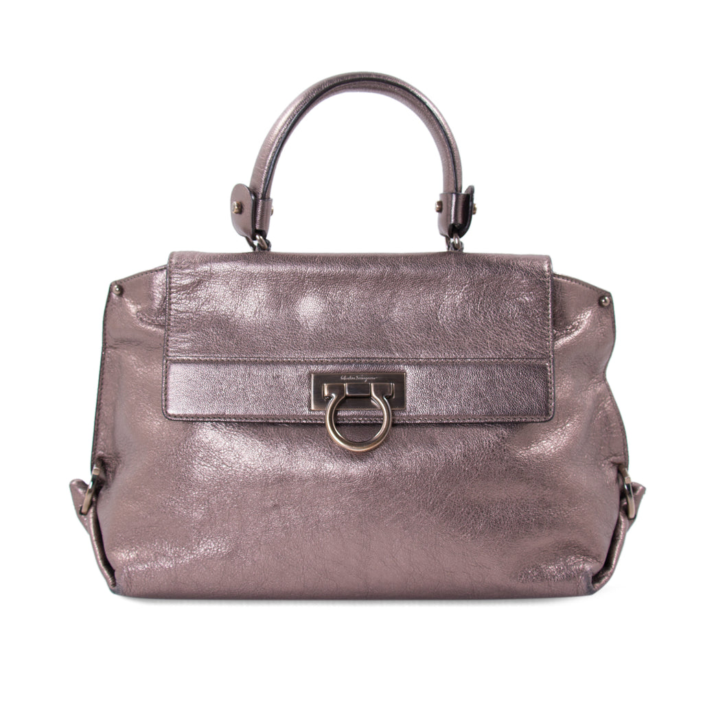 27cc3e138838 Shop authentic Salvatore Ferragamo Metallic Sofia Satchel at revogue ...