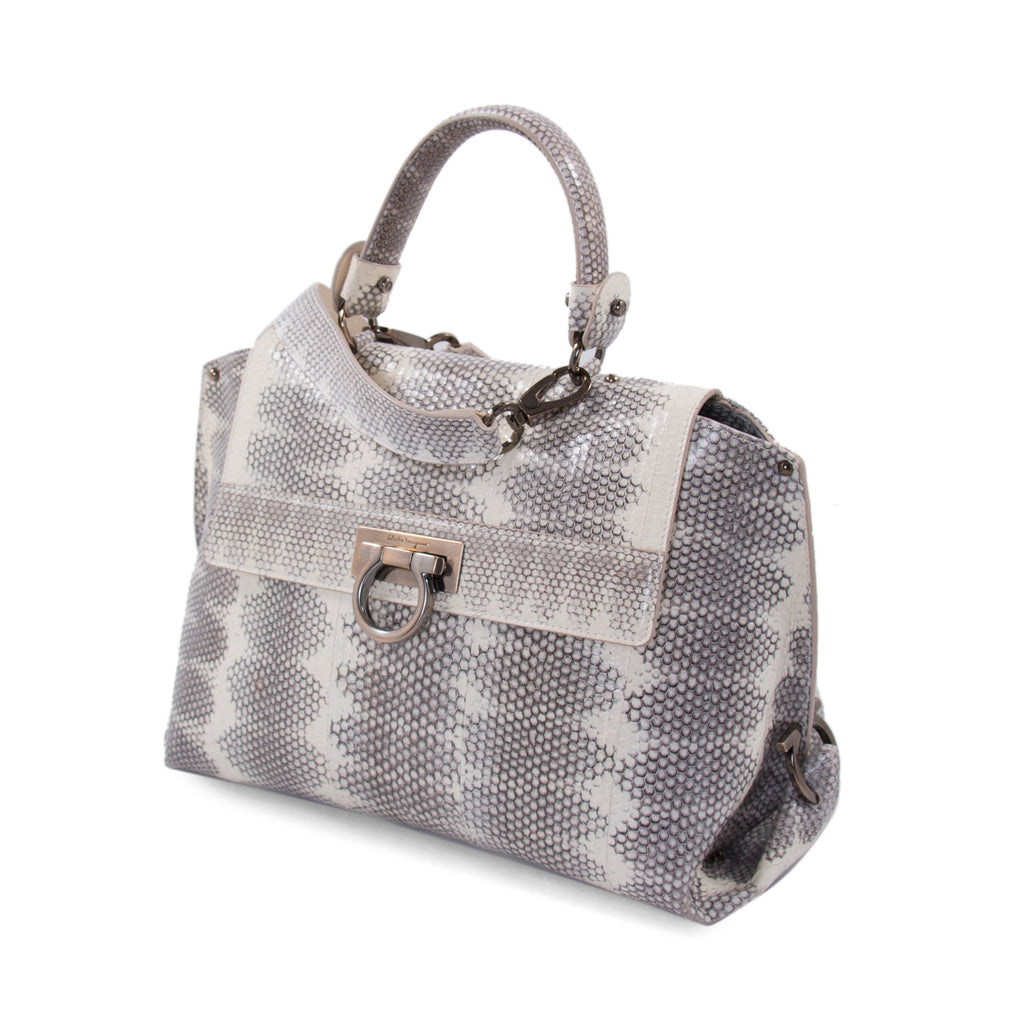 Salvatore Ferragamo Snake Skin Sofia Satchel Bags Salvatore Ferragamo - Shop authentic new pre-owned designer brands online at Re-Vogue