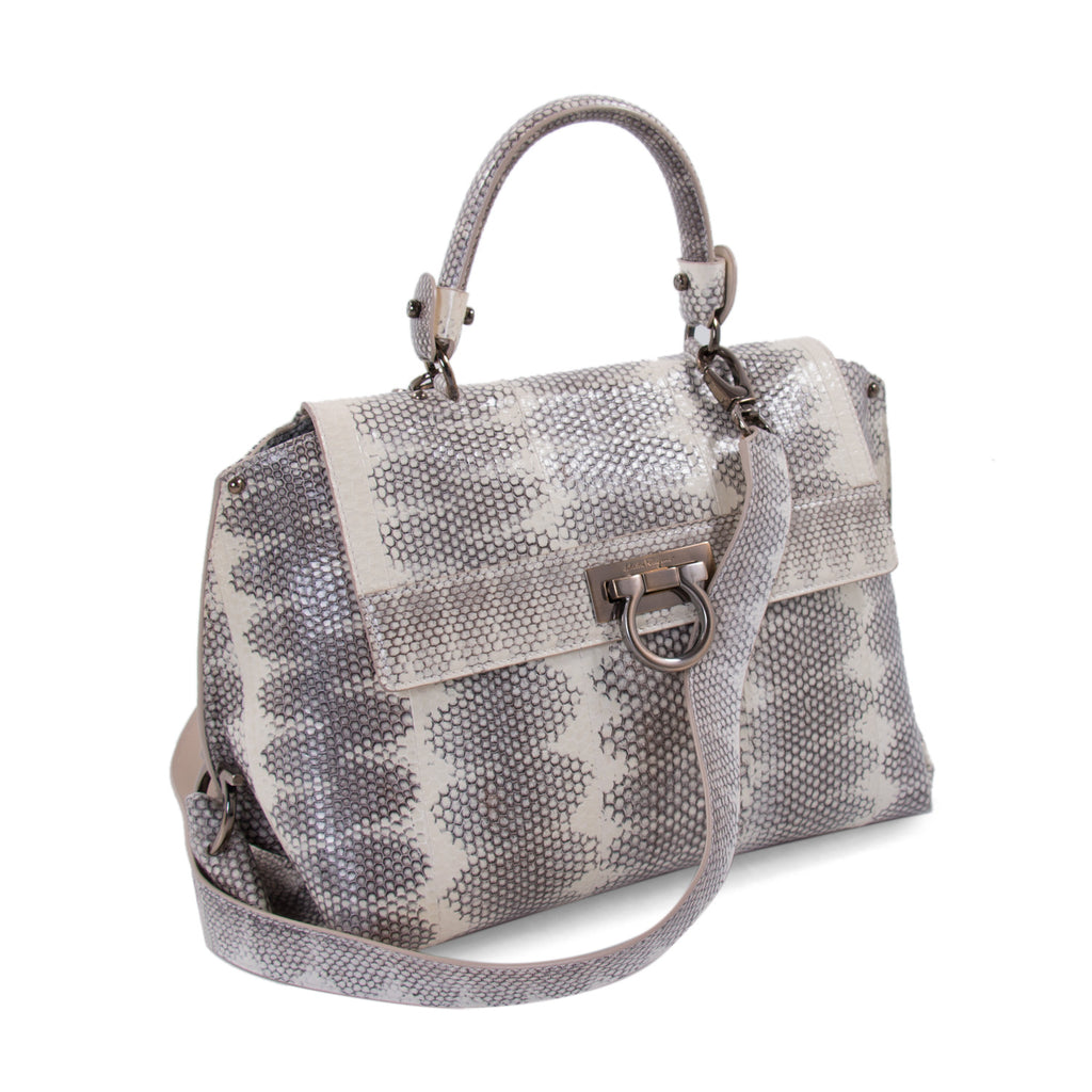 93abb5bd01c9 Shop authentic Salvatore Ferragamo Snake Skin Sofia Satchel at Re ...