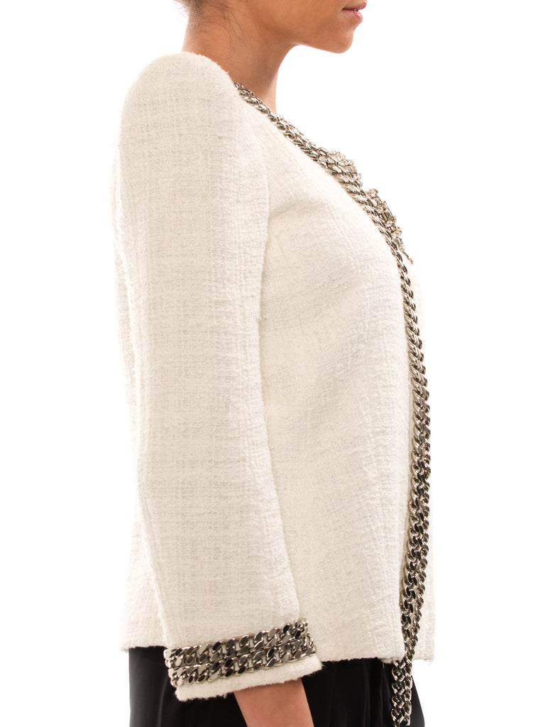 Balmain White Cotton Jacket With Metal Chain - revogue