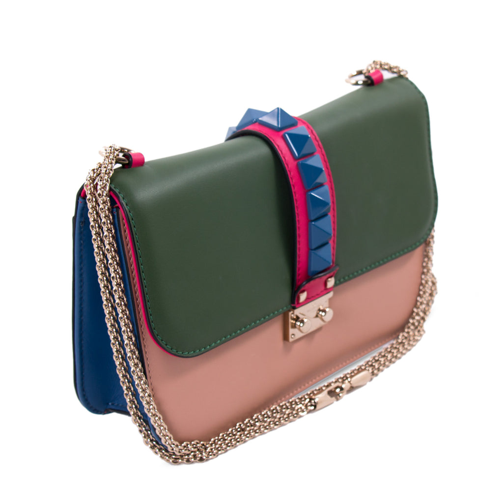 60ea0837d Shop authentic Valentino Rockstud Glam Lock Flap Bag at revogue for ...