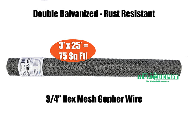 Digger's RootGuardTM 3 Foot x 25 Foot (75 Sq Ft) Gopher Wire Roll