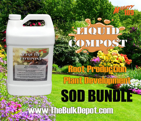 "The ""Liquid Compost Sod Bundle"" MIGHTY 109 Plus Fescue Blue Sod and Liquid Compost- California Delivery Only"
