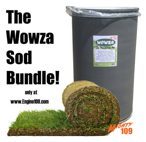 """The Wowza Sod Bundle"" MIGHTY 109 Plus Fescue Blue Sod and Wowza Sod Prep Mix- California Delivery Only"