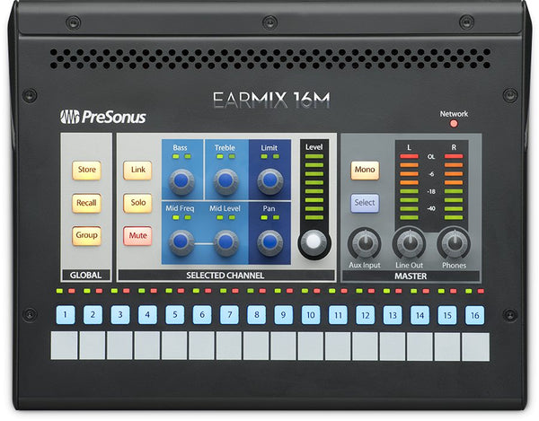 PreSonus EarMix 16M 16 channel AVB Networked Personal Monitor Mixer