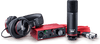 Focusrite Scarlett Solo 3rd Gen 2-in, 2-out USB Audio Interface with a Condenser Microphone and Headphones