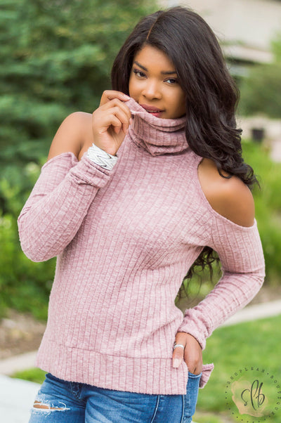 Open Arms Cold Shoulder Ribbed Top (Dusty Pink)