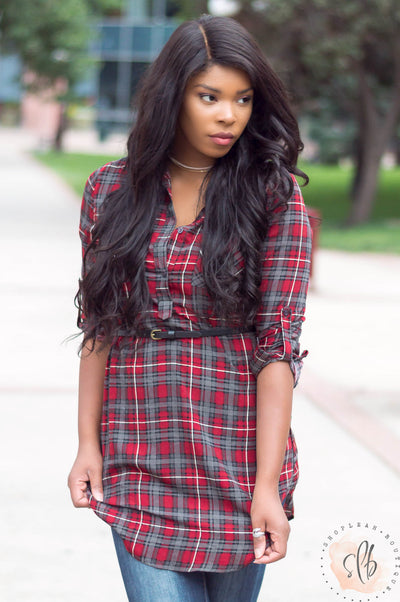 Once Upon A Time Plaid Belted Tunic (Burgundy)