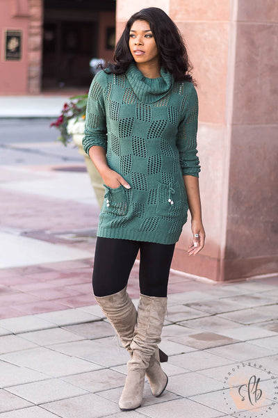 Only Time Will Tell Knit Sweater Top (Green)