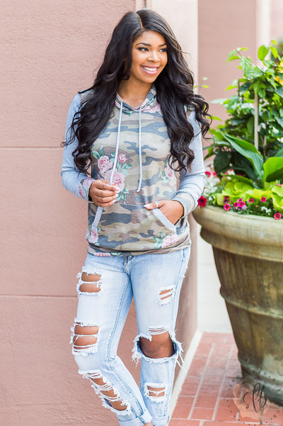 Camo X Floral Print Hooded Sweatshirt (Olive)
