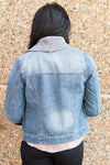 Melrose Knit Collar Denim Jacket (Medium Wash)