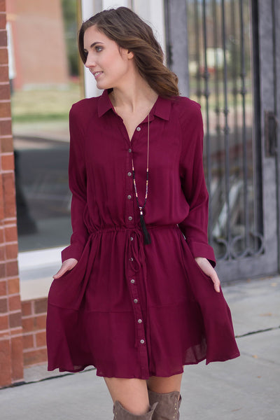 Trip For Two Long Sleeve Button Up Pocket Dress (Wine)- shopleahboutique.com