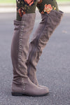 Stay Grounded Suede Over The Knee Boots (Taupe) - Shopleahboutique.com