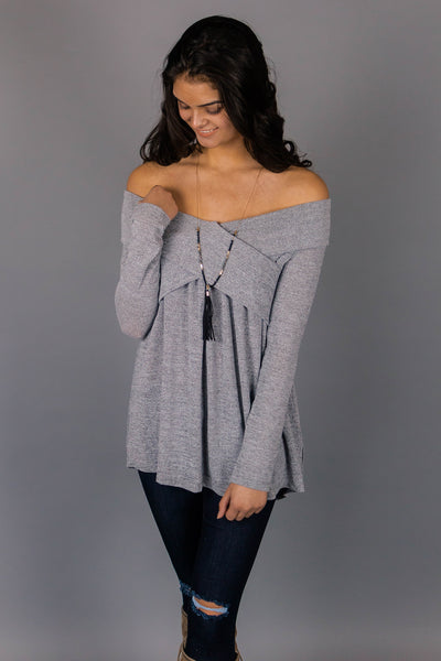 Raise The Bar Off The Shoulder Tunic Top (Heather Grey) - Shopleahboutique.com