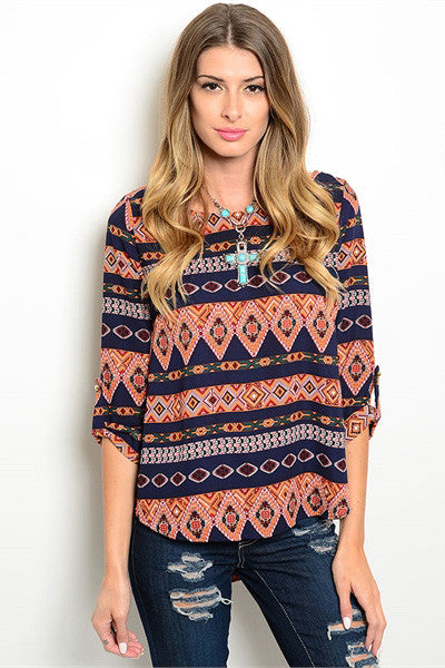 Print Me over Tribal Print Top - Shopleahboutique.com