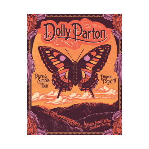 Pigeon Forge Butterfly Screenprint Poster